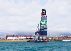 Image licensed to Lloyd Images. Free for editorial use. Pictures of Americas Cup World Series Portsmouth 25.07.15 - Land Rover BAR Racing Team skippered by Sir Ben Ainslie (GBR) Credit: Lloyd Images